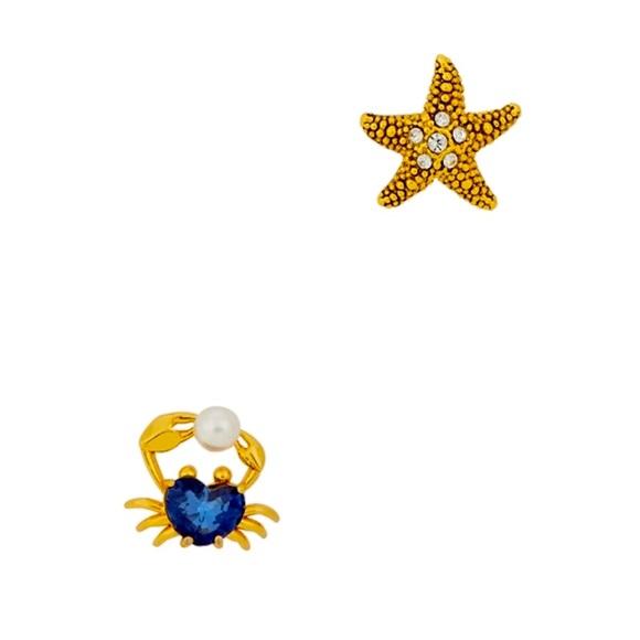 Kat Spade Sea Star Starfish & Crab Studs